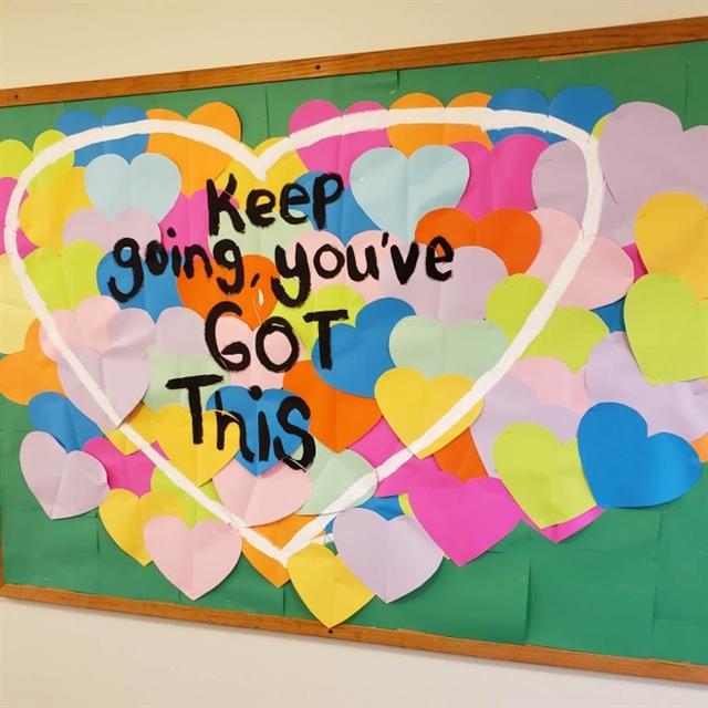 Walls at Three Pillars Senior Living Communities have been decorated with uplifting phrases throughout the COVID-19 pandemic