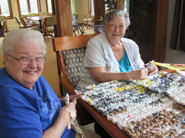 Lois and Judi, residents at Three Pillars, have made over 95 mats with the help of many volunteers.