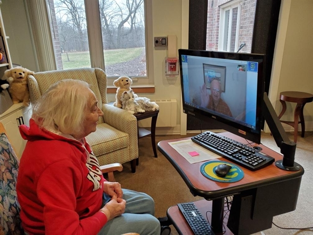 Residents Duane and Wilma savor a video chat.