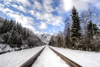 Traintrack outdoors in the winter with snow